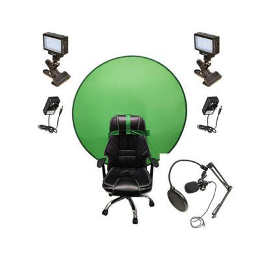 Picture of Bescor Dual LED70 w/ KLP Mount, AC Adapters, SM2 Ball Mounts, TurtleShell GreenScreen & USB Microphone Streaming Kit