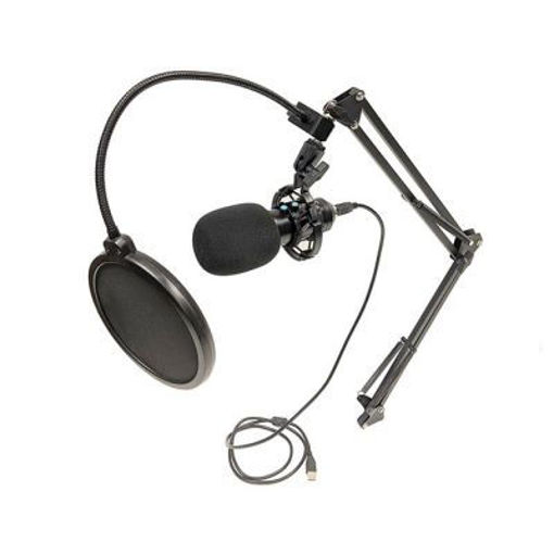 Picture of Bescor USB Microphone with Boom Arm Stand, Pop Filter, Foam Windscreen & USB Cable