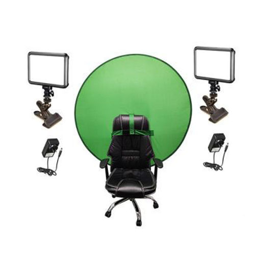 Picture of Bescor Dual Specter Lights w/ KLP Mount, AC Adapters & TurtleShell GreenScreen Streaming Kit