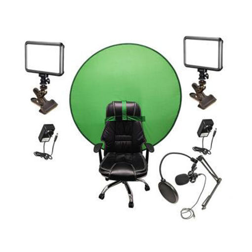 Picture of Bescor Dual Specter Lights w/ KLP Mount, AC Adapters, TurtleShell GreenScreen & USB Microphone Streaming Kit