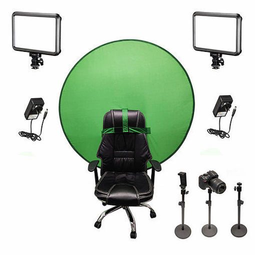Picture of Bescor Dual Specter Lights w/ 3 Table Top Light Stands, SmartPhone Mount, AC Adapters & TurtleShell GreenScreen Streaming Kit