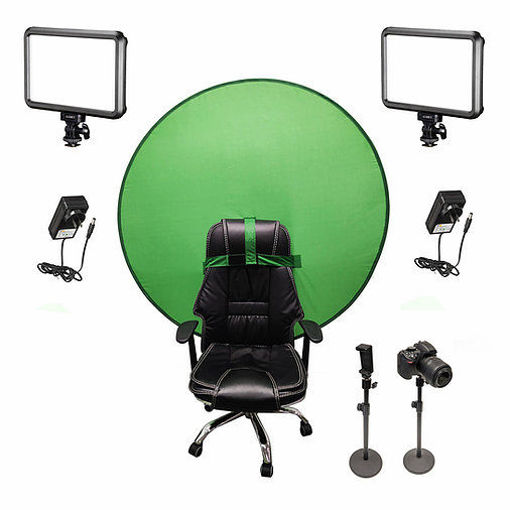 Picture of Bescor Dual Specter Lights w/ 2 Table Top Light Stands, TurtleShell Greenscreen & AC Adapters Streaming Kit
