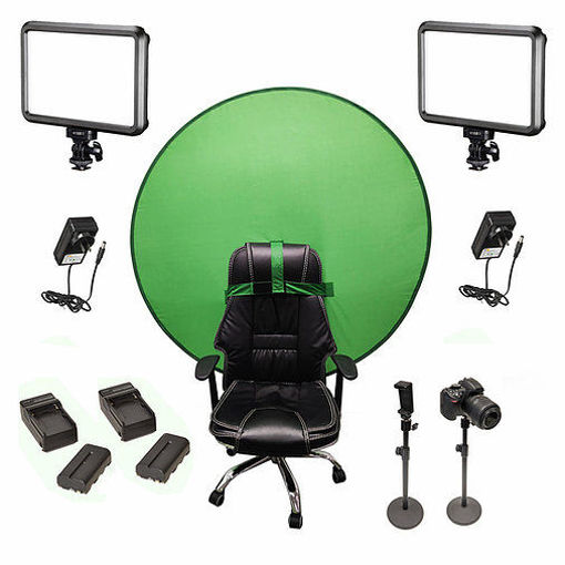 Picture of Bescor Dual Specter Lights w/ 2 Table Top Light Stands, TurtleShell Greenscreen, 2 L-Series Batteries, 2 L-Series Chargers & AC Adapters Streaming Kit
