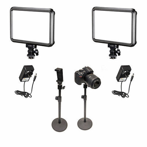 Picture of Bescor 2 Specter Lights, 3 Desktop Light Stand, Phone Mount, AC Adapters Streaming Kit