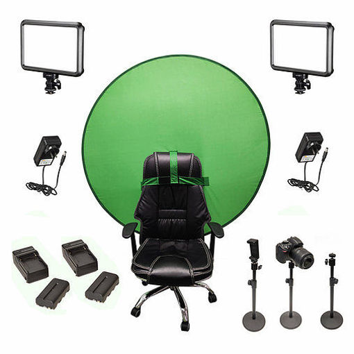 Picture of Bescor Dual Specter Lights w/ 3 Table Top Light Stands, SmartPhone Mount, 2 NPF Batteries, 2 NPF Chargers, AC Adapters & TurtleShell GreenScreen Streaming Kit