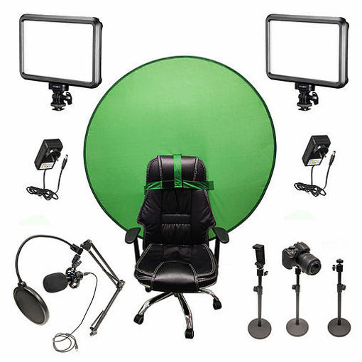 Picture of Bescor Dual Specter Lights w/ 3 Table Top Light Stands, SmartPhone Mount, AC Adapters, TurtleShell GreenScreen & USB Microphone Streaming Kit