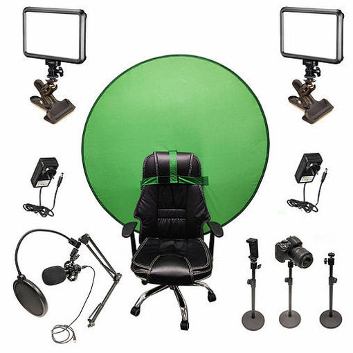 Picture of Bescor Dual Specter Lights w/ 3 Table Top Light Stands, SmartPhone Mount, SM2 Ball Mounts, KLP Clamps, AC Adapters, TurtleShell GreenScreen & USB Microphone Streaming Kit