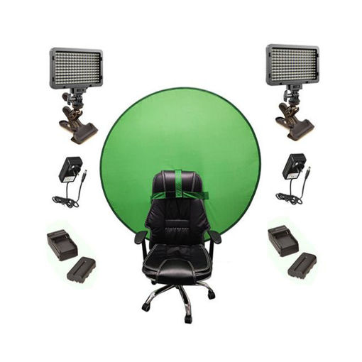 Picture of Bescor Dual Waffle Lights w/ KLP Mount, AC Adapters, 2 L-Series Batteries, 2 L-Series Chargers & TurtleShell GreenScreen Streaming Kit