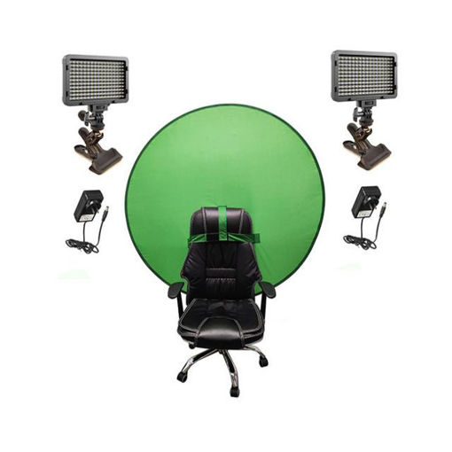 Picture of Bescor Dual Waffle Lights w/ KLP Mount, AC Adapters & TurtleShell GreenScreen Streaming Kit