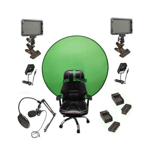 Picture of Bescor Dual Waffle Lights w/ KLP Mount, AC Adapters, 2 L-Series Batteries, 2 L-Series Chargers, TurtleShell GreenScreen & USB Microphone Streaming Kit
