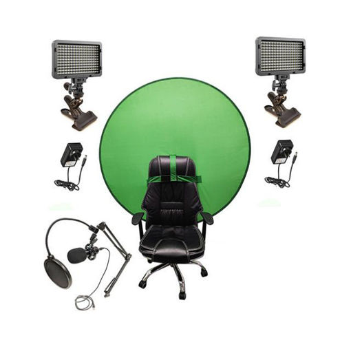 Picture of Bescor Dual Waffle Lights w/ KLP Mount, AC Adapters, TurtleShell GreenScreen & USB Microphone Streaming Kit