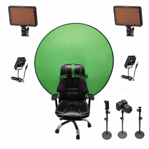 Picture of Bescor Dual Waffle Lights w/ 3 Table Top Light Stands, SmartPhone Mount, AC Adapters & TurtleShell GreenScreen Streaming Kit