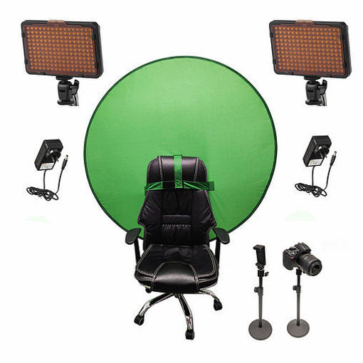 Picture of Bescor Dual Waffle Lights w/ 2 Table Top Light Stands, TurtleShell Greenscreen & AC Adapters Streaming Kit