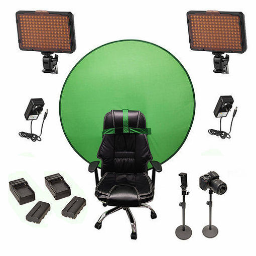 Picture of Bescor Dual Waffle Lights w/ 2 Table Top Light Stands, TurtleShell Greenscreen, 2 L-Series Batteries, 2 L-Series Chargers & AC Adapters Streaming Kit