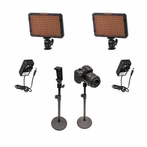 Picture of Bescor 2 Waffle Lights, 3 Desktop Light Stand, Phone Mount, AC Adapters Streaming Kit