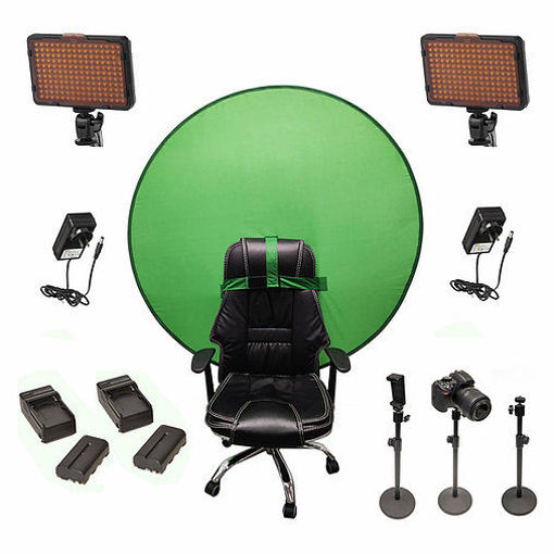 Picture of Bescor Dual Waffle Lights w/ 3 Table Top Light Stands, SmartPhone Mount, 2 NPF Batteries, 2 NPF Chargers, AC Adapters & TurtleShell GreenScreen