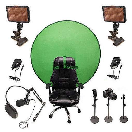 Picture of Bescor Dual Waffle Lights w/ 3 Table Top Light Stands, SmartPhone Mount, SM2 Ball Mounts, KLP Clamps, AC Adapters, TurtleShell GreenScreen & USB Microphone Streaming Kit