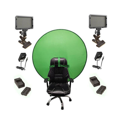 Picture of Bescor Dual XT160 Lights w/ KLP Mount, AC Adapters, 2 L-Series Batteries, 2 L-Series Chargers & TurtleShell GreenScreen Streaming Kit