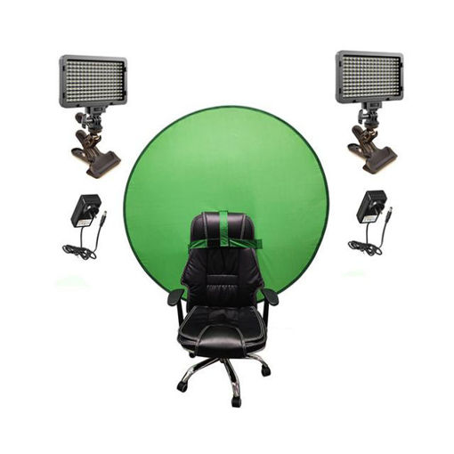 Picture of Bescor Dual XT160 Lights w/ KLP Mount, AC Adapters & TurtleShell GreenScreen Streaming Kit