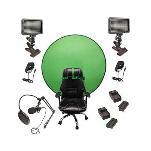 Picture of Bescor Dual XT160 Lights w/ KLP Mount, AC Adapters, 2 L-Series Batteries, 2 L-Series Chargers, TurtleShell GreenScreen & USB Microphone Streaming Kit