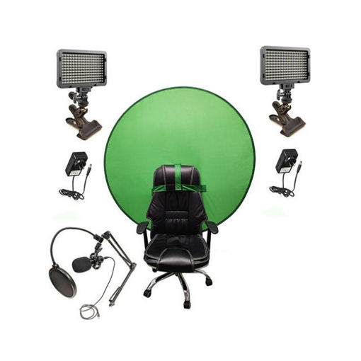 Picture of Bescor Dual XT160 Lights w/ KLP Mount, AC Adapters, TurtleShell GreenScreen & USB Microphone Streaming Kit