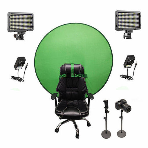 Picture of Bescor Dual XT160 Lights w/ 2 Table Top Light Stands, TurtleShell Greenscreen & AC Adapters Streaming Kit