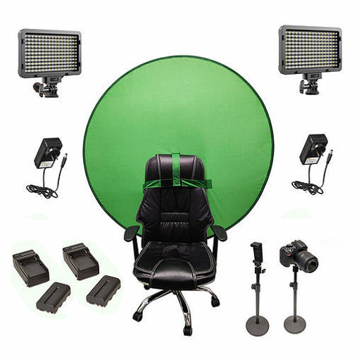 Picture of Bescor Dual XT160 Lights w/ 2 Table Top Light Stands, TurtleShell Greenscreen, 2 L-Series Batteries, 2 L-Series Chargers & AC Adapters Streaming Kit