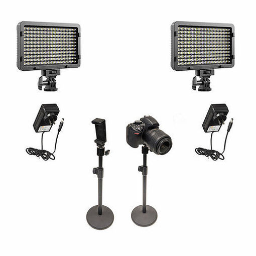 Picture of Bescor 2 XT160 Lights, 3 Desktop Light Stand, Phone Mount, AC Adapters Streaming Kit