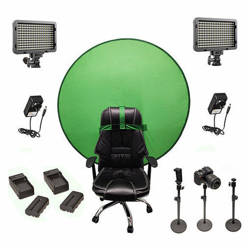 Picture of Bescor Dual XT160 Lights w/ 3 Table Top Light Stands, SmartPhone Mount, 2 NPF Batteries, 2 NPF Chargers, AC Adapters & TurtleShell GreenScreen Streaming Kit