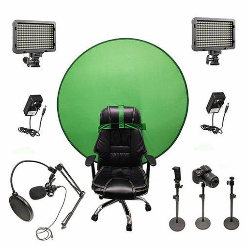 Picture of Bescor Dual XT160 Lights w/ 3 Table Top Light Stands, SmartPhone Mount, AC Adapters, TurtleShell GreenScreen & USB Microphone Streaming Kit