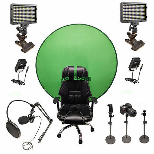 Picture of Bescor Dual XT160 Lights w/ 3 Table Top Light Stands, SmartPhone Mount, SM2 Ball Mounts, KLP Clamps, AC Adapters, TurtleShell GreenScreen & USB Microphone Streaming Kit